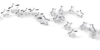 Grupa szkło gwiazdy odizolowywać na białym tle świadczenia 3 d ilustracji