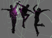Grupa tancerz w dancingowym abstrakcjonistycznym pojęciu Obrazy Stock
