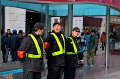 Zespół ds. bezpieczeństwa przy Nanjing drogą, Szanghaj Chiny Obrazy Stock