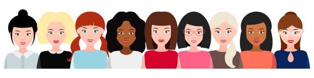 Grupa uśmiechnięte kobiety, ogólnospołeczny ruch upełnomocnienie kobiety pojęcie feminizm, władz dziewczyny wektor obraz royalty free