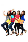 Grupa uśmiechnięci żeńscy przyjaciele, ucznie/ Obrazy Royalty Free