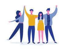 Grupa uśmiechnięci nastoletni chłopacy i dziewczyny, szkolni przyjaciele, szczęśliwi ucznie stoi wpólnie, machający rękę Przyja?? ilustracji