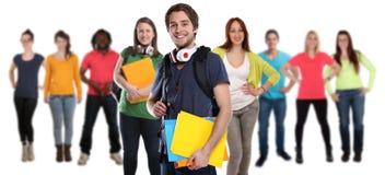 Grupa uczni młodzi uśmiechnięci szczęśliwi ludzie odizolowywający Zdjęcie Stock