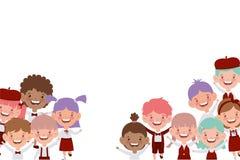 Grupa ucznie ono uśmiecha się na białym tle royalty ilustracja