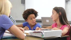 Grupa ucznie Pracuje Wpólnie W klasie