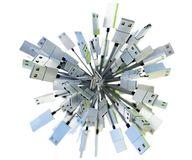 Grupa USB depeszuje tworzyć sferę w zieleni ans błękita świetle Obraz Royalty Free
