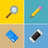 Grupa wektorowi symbole: telefon, karta Obrazy Stock
