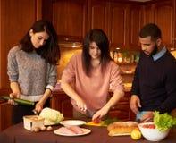 Grupa wielo- etniczni młodzi przyjaciele w kuchni przygotowywa dla przyjęcia Zdjęcia Stock