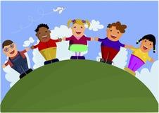 Grupa wielokulturowi dzieciaki Zdjęcia Stock