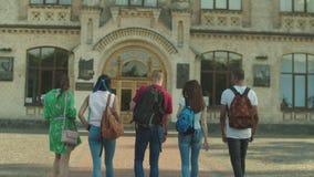 Grupa wielonarodowi ucznie iść szkoła wyższa zbiory