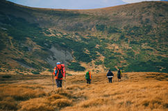 Grupa wycieczkowicze w górach, widok Carpathians góry Obraz Stock