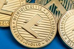 Grupa złote litecoin monety, w górę zdjęcia stock