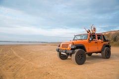 Grupa z podnieceniem szczęśliwi przyjaciele stoi w samochodzie fotografia royalty free