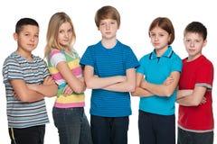 Grupa zadumani dzieci zdjęcia royalty free