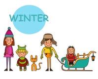Grupa zim dziewczyny i chłopiec Setów dzieciaki w zimie wygrana Obrazy Royalty Free