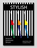Grupo abstrato de saias do withbright da mulher em fundo listrado Projeto da capa de revista da forma ilustração stock