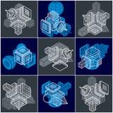 Grupo abstrato do vetor das construções, collectio dimensional dos projetos ilustração royalty free