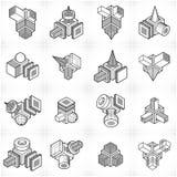 Grupo abstrato do vetor das construções, collectio dimensional dos projetos ilustração stock