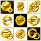 Grupo abstrato do vetor do ouro de fundos para o seu Imagens de Stock Royalty Free