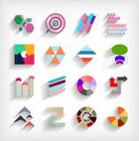 grupo abstrato horizontalmente geométrico do ícone do negócio 3d ilustração do vetor