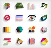 grupo abstrato horizontalmente geométrico do ícone do negócio 3d ilustração stock