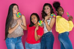 Grupo adolescente de muchachas Imagen de archivo