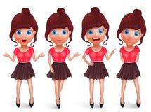 Grupo adolescente dos caráteres do vetor da mulher Modelo da menina da forma com roupa na moda ilustração stock