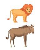 Grupo africano do vetor dos desenhos animados dos animais ilustração isolada safari do leão e do antílope Fotografia de Stock