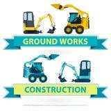 Grupo agradável da maquinaria de construção Trabalhos amarelos azuis da terra Veículos da máquina ilustração do vetor