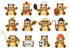 Grupo agradável dos desenhos animados de ursos ilustração stock