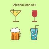 Grupo ajustado do vintage do ícone das bebidas do álcool Imagens de Stock