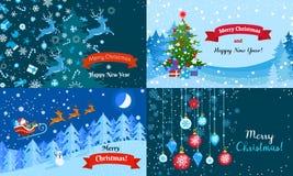 Grupo alegre da bandeira do Natal do inverno, estilo liso ilustração stock
