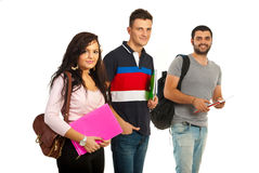 Grupo alegre de estudantes Imagens de Stock