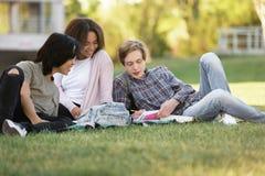 Grupo alegre de estudiantes multiétnicos que estudian al aire libre Foto de archivo libre de regalías