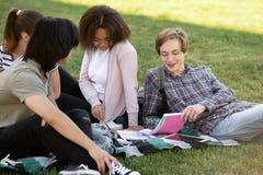 Grupo alegre de estudiantes multiétnicos que estudian al aire libre Fotografía de archivo