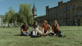 Grupo alegre de estudiantes que charlan en césped del campus almacen de metraje de vídeo