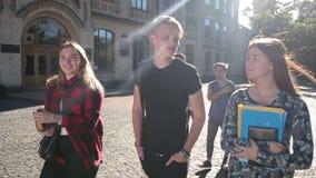 Grupo alegre de estudiantes que van a la universidad al aire libre almacen de video