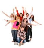 Grupo alegre de gente joven. Foto de archivo libre de regalías