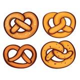 Grupo alemão do ícone do pretzel, estilo dos desenhos animados ilustração do vetor