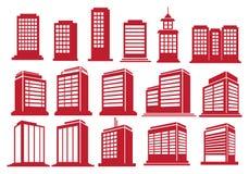 Grupo alto do ícone do vetor das construções da elevação Fotos de Stock Royalty Free