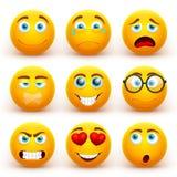 Grupo amarelo do vetor dos emoticons 3d Ícones engraçados da cara do smiley com expressões diferentes ilustração stock
