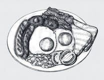Grupo americano desenhado à mão do café da manhã ilustração royalty free