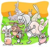Grupo animal de los caracteres de la historieta de los conejos stock de ilustración