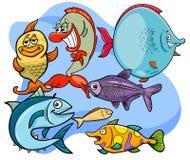Grupo animal de los caracteres de la historieta divertida de los pescados ilustración del vector