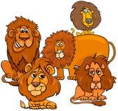 Grupo animal de los caracteres de la historieta de los leones stock de ilustración
