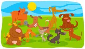 Grupo animal de los caracteres de la historieta de los perros y de los perritos stock de ilustración