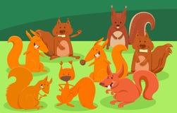 Grupo animal de los caracteres de las ardillas de la historieta stock de ilustración