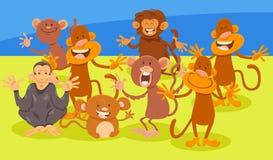 Grupo animal de los caracteres de los monos de la historieta ilustración del vector