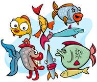 Grupo animal de los personajes de dibujos animados de los pescados stock de ilustración