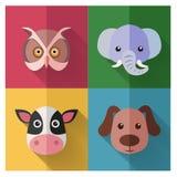 Grupo animal do ícone com ilustração lisa do projeto/vetor Imagens de Stock